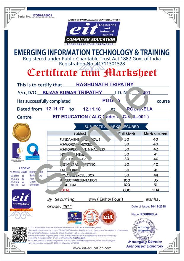 sample student certificateeit  best computer education